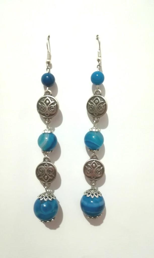 Серьги из Агата, натуральный камень, цвет сине-голубой и его оттенки, тм Satori \ S - 0307