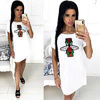 Женское летнее белое платье №1263 (р. 42-46) разные аппликации, фото 1