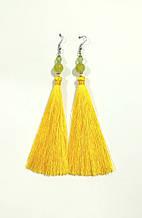 Серьги кисти желтые длина 11 см, серьги кисточки шелк, вставки натуральный камень, тм Satori