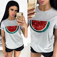 Женская летняя футболка с разными аппликациями №1250 (р.42-46) серая, фото 1