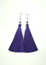 Серьги кисти фиолетовые длина 11 см, серьги кисточки шелк, тм Satori