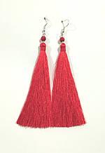 Серьги кисти красные длина 11 см, серьги кисточки шелк, вставки натуральный камень, тм Satori