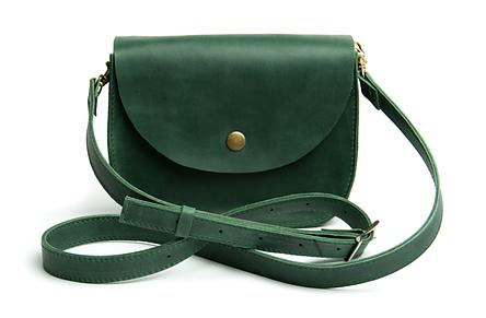 Жіноча міні сумка на плече Goose™ G0022 зелена, натуральна шкіра, фото 2