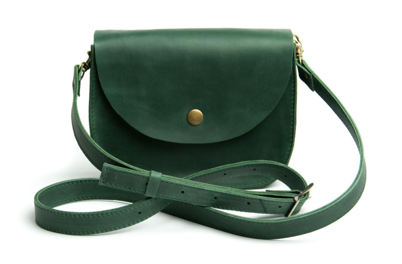 Жіноча міні сумка на плече Goose™ G0022 зелена, натуральна шкіра