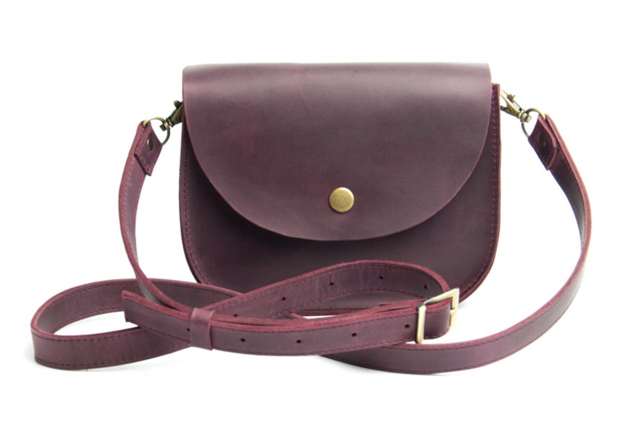 Міні-сумка жіноча з натуральної шкіри Goose™ G0024 марсала (ручна робота)