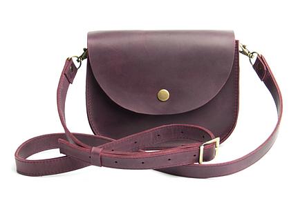 Міні-сумка жіноча з натуральної шкіри Goose™ G0024 марсала (ручна робота), фото 2