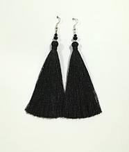 Серьги кисти черные длина 11 см, серьги кисточки шелк, вставки натуральный камень, тм Satori