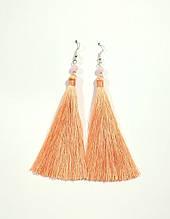 Серьги кисти персиковые длина 11 см, серьги кисточки шелк, тм Satori