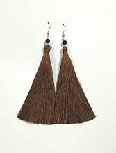 Серьги кисти цвет темный шоколад длина 11 см, серьги кисточки шелк, тм Satori