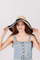 Шляпа с широкими полями песочно-синяя