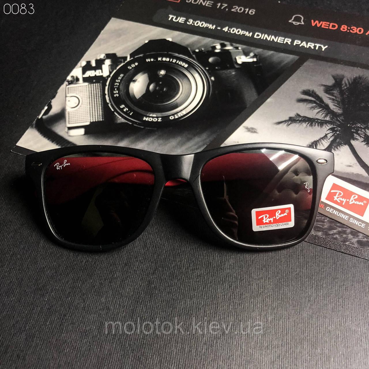 Модные солнцезащитные мужские очки в стиле Ray-Ban черные с красным