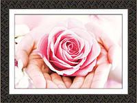 """Частичная вышивка крестиком """"Роза на ладонях"""" 3Д"""