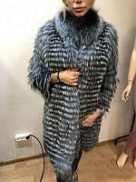 Роскошная шуба пальто из меха чернобурки в роспуск 100 см