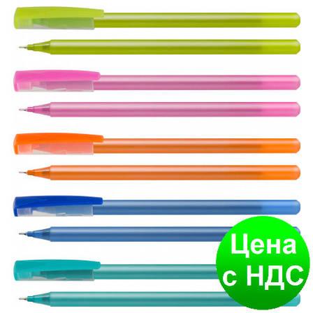 Ручка масляная OPTIMA FLAME, 0,7 мм. Корпус ассорти, пишет синим O15643-02, фото 2