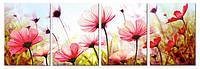 """Набор для вышивки крестиком с фотопринтом """"Розовый цветок"""" полиптих"""