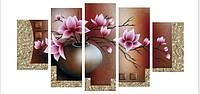 """Полиптих 3Д вышивка крестиком """"Ваза с цветком"""", фото 1"""