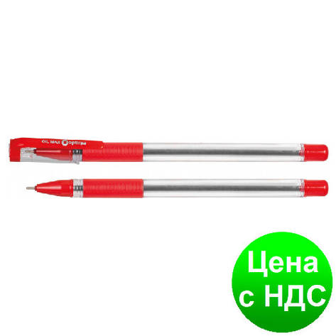 Ручка масляная OPTIMA OIL MAXX 0,7 мм, пишет красным O15644-03, фото 2
