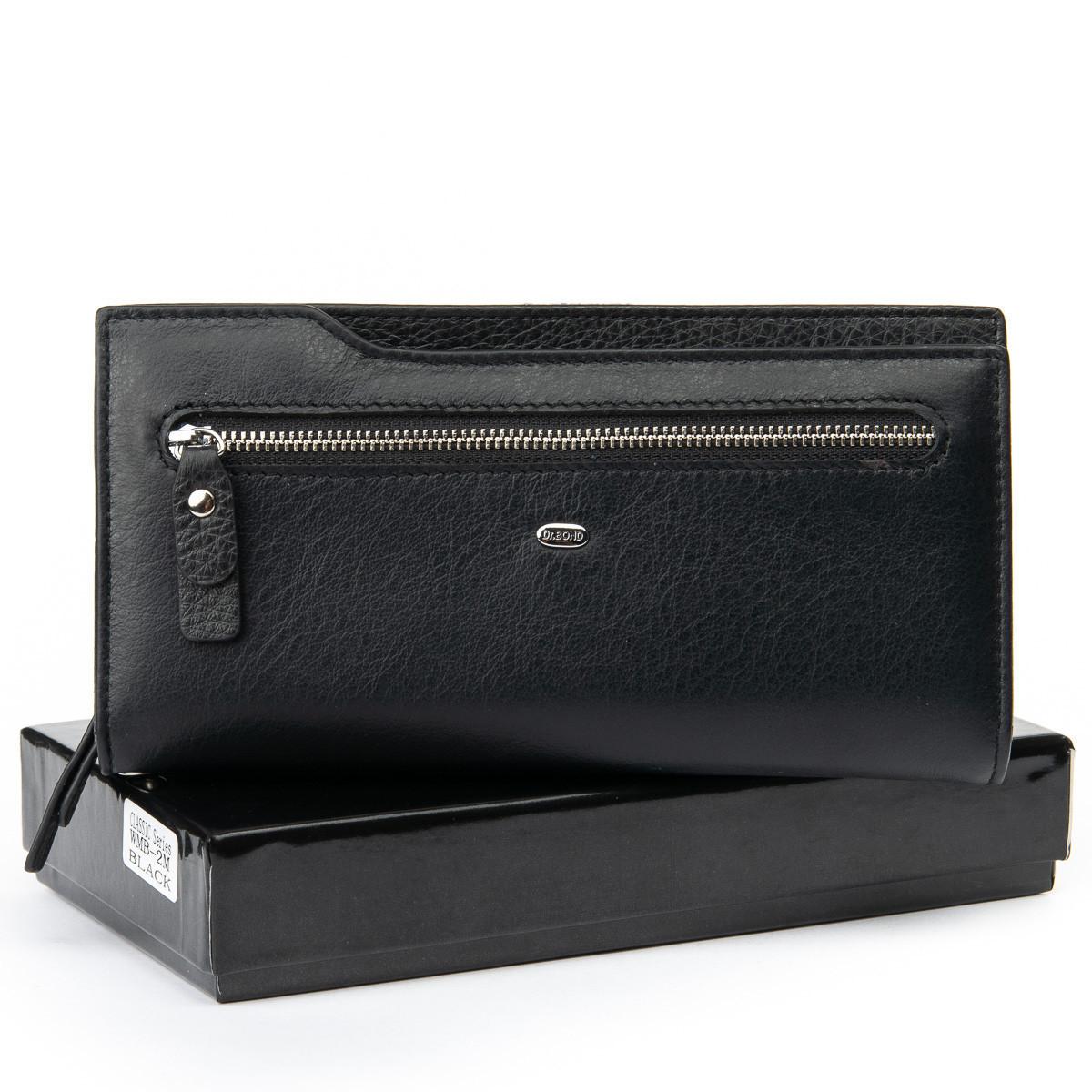 Большой мужской кожаный кошелек DR. BOND черного цвета