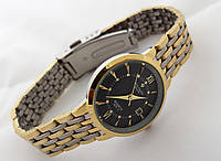 Часы женские Patek Philippe - стальной браслет, цвет циферблата черный