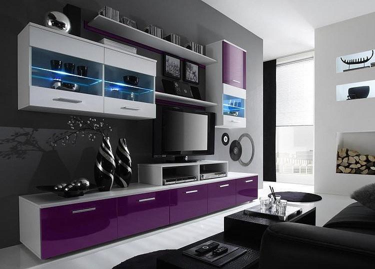 Гостиная Logo 2 Cama белый/фиолетовый глянец