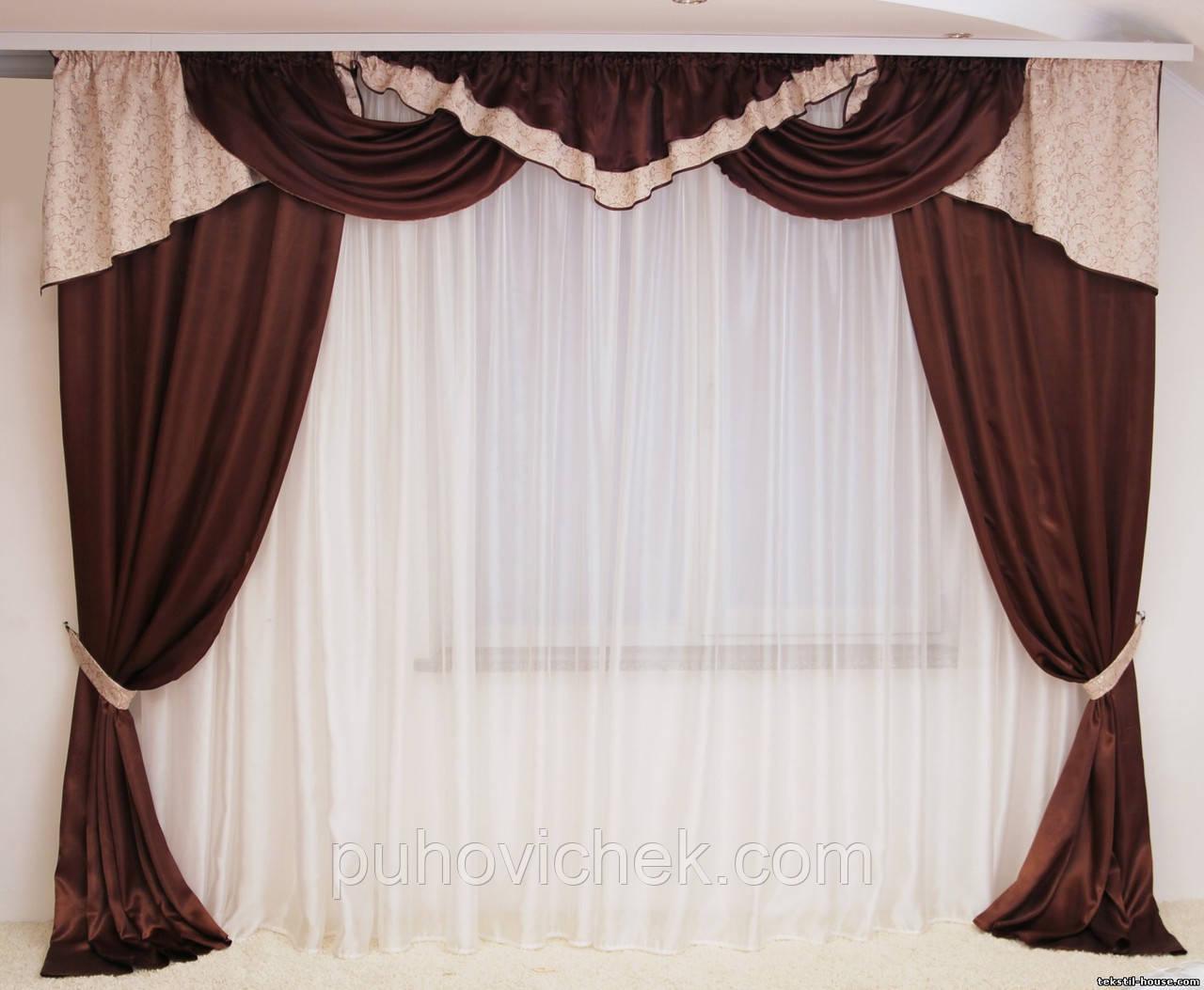 Готовые шторы и ламбрекен для гостинной