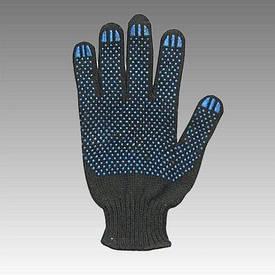 Рукавички робочі х/б чорна з пвх покриттям (Польща)