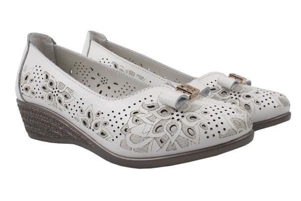 Туфли комфотр женские на низком ходу летние Li Fexpert натуральная кожа, цвет белый