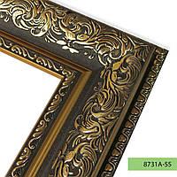 Зеркало в пластиковой рамке из багета 8731А-55 (тёмно-золотой)
