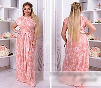 Летнее платье в пол с поясом, 50-62 размер, фото 1