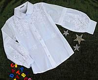 Блуза на девочку, длинный рукав, р. 128-152, белый
