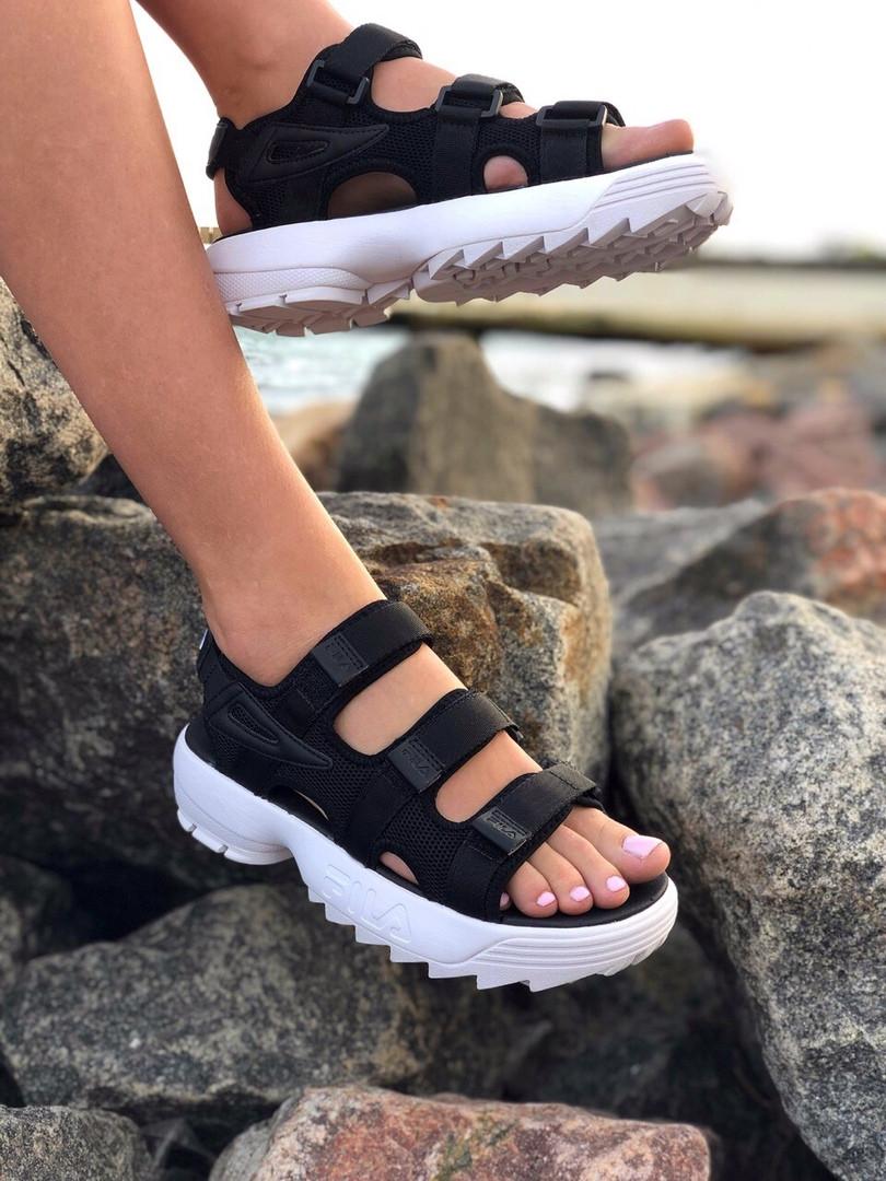 Сандали женские Fila disruptor sandal. Босоножки  Fila disruptor черного цвета.