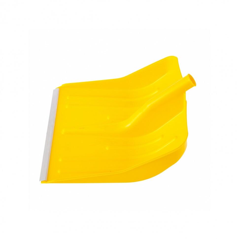 Лопата снеговая желтая, 400 х 420 мм, без черенка, пласт., Алюм. окантовка // СИБРТЕХ 61616