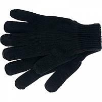 Перчатки трикотажные, акрил, цвет: черный, двойная манжета, // СИБРТЕХ 68671
