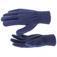 Перчатки трикотажные, акрил, цвет: синий, двойная манжета, // СИБРТЕХ 68675