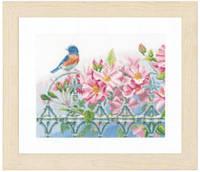"""PN-0156946 Набор для вышивки крестом LanArte Wren and Pink Flowers """"Королек и розовые цветы"""""""