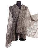 Палантин Морозные узоры. Ромбы П-01157, серый, оренбургский шарф (палантин), фото 2