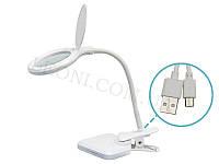 Лампа-лупа настольная, питание через USB-кабель LED 8096 (3D)