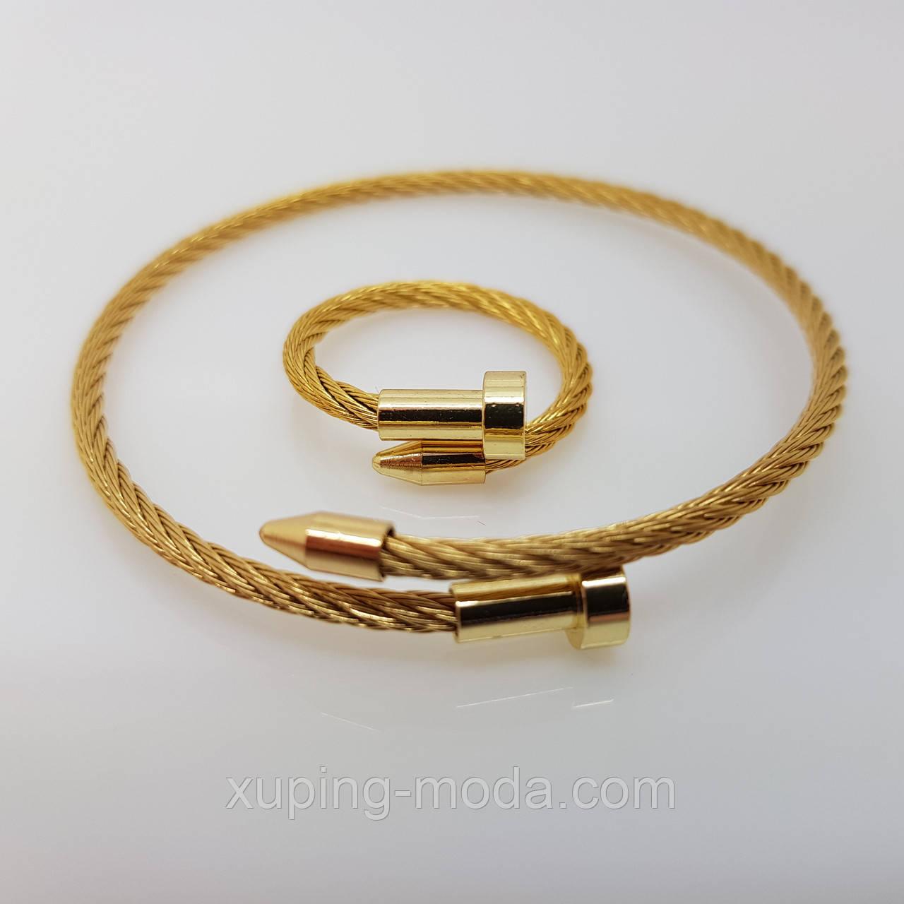 Браслет+кольцо в виде гвоздя, под золото