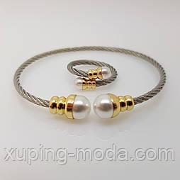 Браслет+кольцо с жемчугом, под серебо
