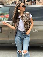 Женская стильная жилетка безрукавка косуха из искусственной кожи на змейке с животными принтами, норма и батал