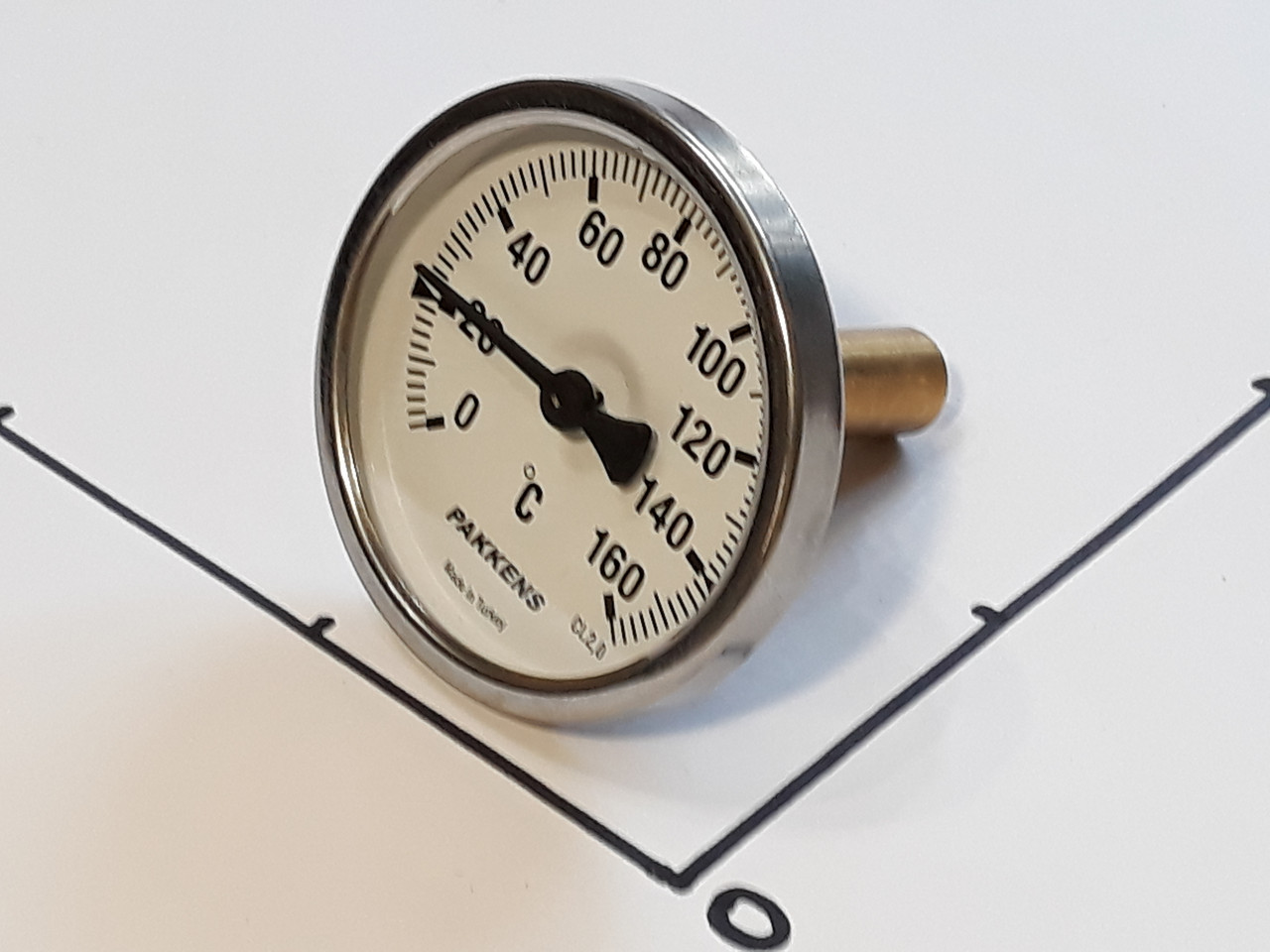 "Термометр Ø63мм / 160°С / L-50 мм 1/2"" стержневой PAKKENS (Турция)"