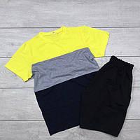 """Футболка + Шорты """"3-color""""! Комплект мужской летний черно-желтый"""