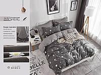 Евро комплект постельного белья «Серые цветы» 200х220 см из сатина