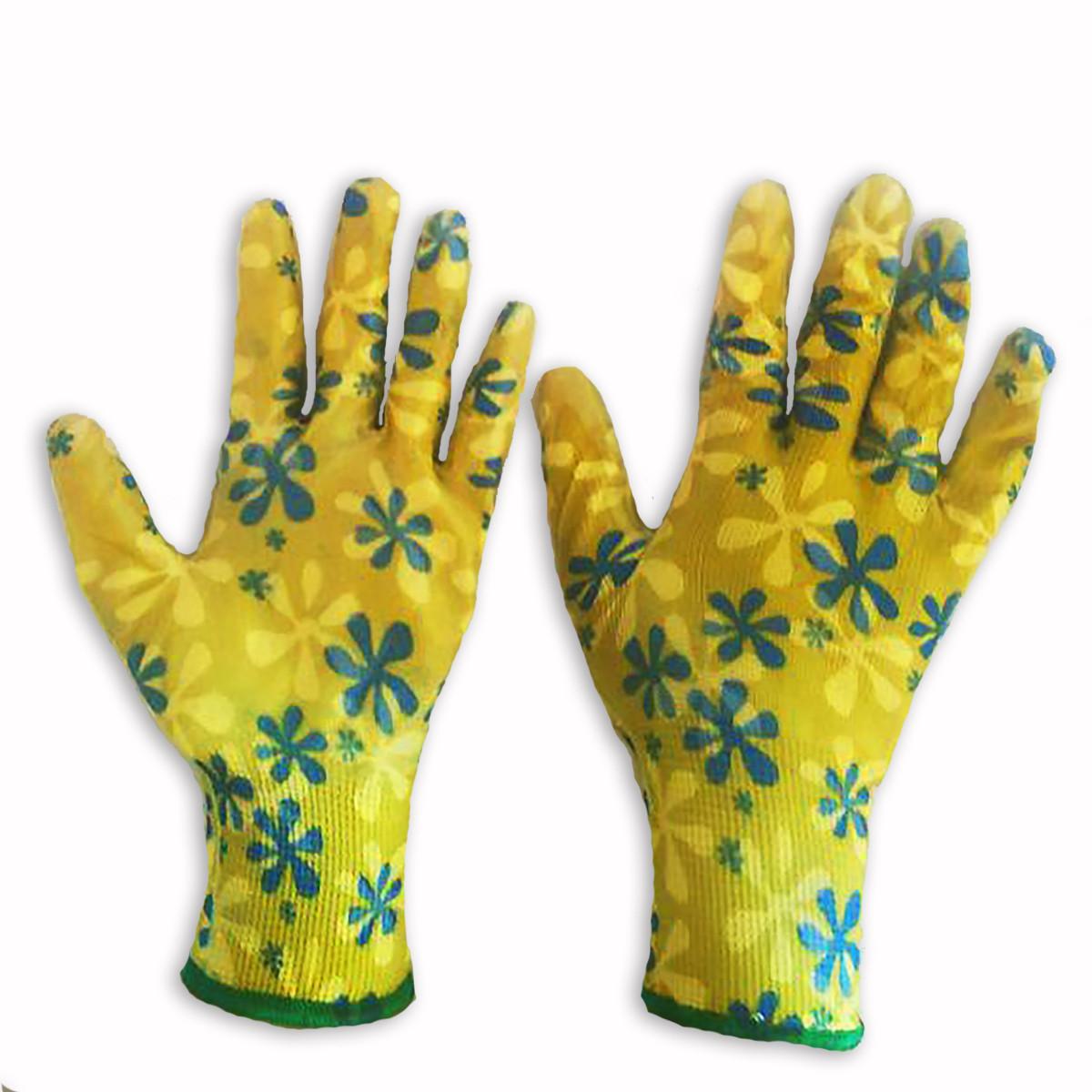 Перчатки рабочие садовые, женские нейлоновые с силиконовым покрытием