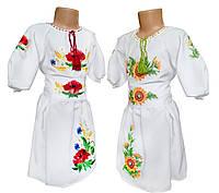 Платье вышиванка для девочки с цветочным орнаментом на белой ткани, фото 1