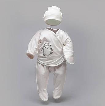 """Набор для новорожденных """"Пингвин"""": распашонка, ползунки и шапка     Комплект для новонародженних"""