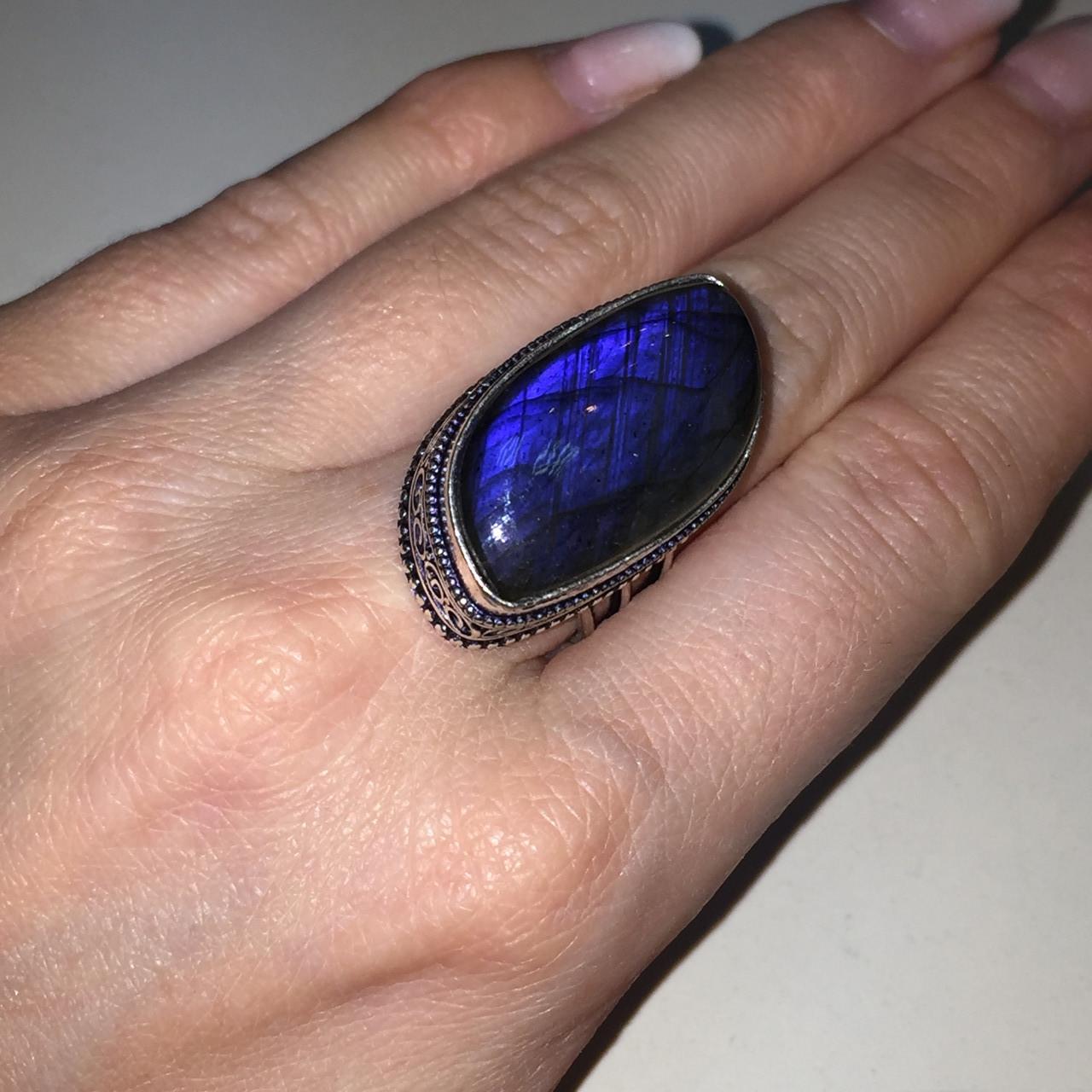 Ультра-синий лабрадор натуральный кольцо лабрадор в серебре. Кольцо с лабрадором 17 размер Индия!