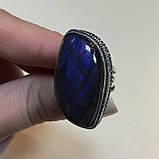 Ультра-синий лабрадор натуральный кольцо лабрадор в серебре. Кольцо с лабрадором 17 размер Индия!, фото 2