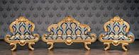 """Комплект мягкой мебели в стиле Барокко """"Барселона"""", диван и два кресла, из натурального дерева, от фабрики"""