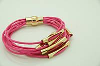 Летний браслет в несколько рядов розового цвета оптом. 744
